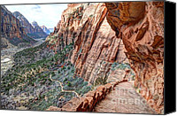 Rock Angels Canvas Prints - Angels Landing Trail from High Above Zion Canyon Floor Canvas Print by Gary Whitton