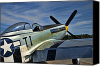 P51 Mustang Canvas Prints - Angels Playmate P-51 Canvas Print by Steven Richardson