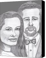 Celebrities Pastels Canvas Prints - Angie and Brad Canvas Print by Richard Heyman