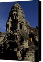 Religious Structures Canvas Prints - Angkor Wat Temple Complex With Ornate Canvas Print by Paul Chesley