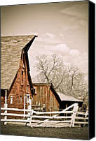 Fences Canvas Prints - Angle Top Barn Canvas Print by Marilyn Hunt