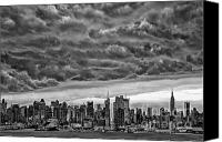 Angry Sky Canvas Prints - Angry Skies Over NYC Canvas Print by Susan Candelario