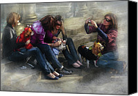 Four Women Canvas Prints - Animal - Dog - How to humiliate a dog Canvas Print by Mike Savad