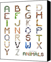 Leonard Filgate Canvas Prints - Animal Alphabet Canvas Print by Leonard Filgate