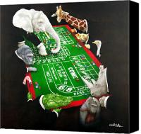 Gambling Canvas Prints - Animal crappers... Canvas Print by Will Bullas