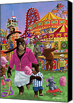 Son Digital Art Canvas Prints - Animal Fun Fair Canvas Print by Martin Davey