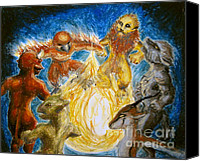 Wolf Pastels Canvas Prints - Animal Totem Dancers - Transformed Canvas Print by Samantha Geernaert