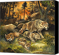 Wolf Cubs Canvas Prints - Animals United in Terror as They Flee from a Forest Fire Canvas Print by G W Backhouse
