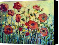 Green Canvas Prints - Anitas Poppies Canvas Print by Jennifer Lommers