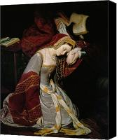 Crying Canvas Prints - Anne Boleyn in the Tower Canvas Print by Edouard Cibot
