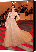 Tulle Canvas Prints - Anne Hathaway Wearing  A Valentino Gown Canvas Print by Everett
