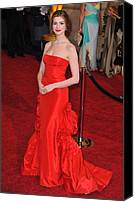 Satin Dress Canvas Prints - Anne Hathaway Wearing Valentino Dress Canvas Print by Everett