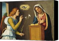 Annunciation Canvas Prints - Annunciation to the Virgin Canvas Print by Giovanni Battista Cima da Conegliano