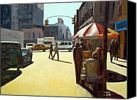 Vendor Painting Canvas Prints - Another summer in Manhattan Canvas Print by Tate Hamilton