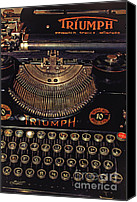 Typewriter Canvas Prints - Antiquated Typewriter Canvas Print by Jutta Maria Pusl