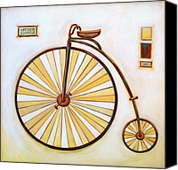 Penny Farthing Painting Canvas Prints - Antique Bicycle Canvas Print by Lori McPhee
