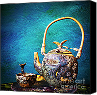 Old Ceramics Canvas Prints - Antique ceramic teapot Canvas Print by Setsiri Silapasuwanchai