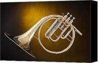 Brass Band Canvas Prints - Antique French Horn Isolated on Gold Canvas Print by M K  Miller