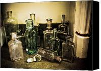 Americana Canvas Prints - Antique Glass Bottles Canvas Print by Marilyn Hunt
