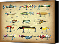 Collectable Painting Canvas Prints - Antique Lures Brown Canvas Print by JQ Licensing