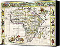 Geography Drawings Canvas Prints - Antique Map of Africa Canvas Print by Dutch School
