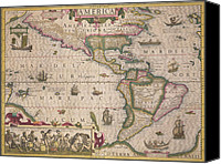 Maps Canvas Prints - Antique Map of America Canvas Print by Jodocus Hondius
