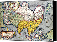 Persia Canvas Prints - Antique Map of Asia Canvas Print by Claes Jansz