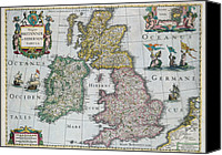 Geography Drawings Canvas Prints - Antique Map of Britain Canvas Print by English School