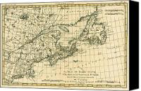 Geography Drawings Canvas Prints - Antique Map of Eastern Canada Canvas Print by Guillaume Raynal
