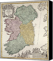 Geography Drawings Canvas Prints - Antique Map of Ireland showing the Provinces Canvas Print by Johann Baptist Homann