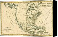 Geography Drawings Canvas Prints - Antique Map of North America Canvas Print by Guillaume Raynal