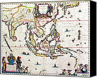 Maps Canvas Prints - Antique map showing Southeast Asia and The East Indies Canvas Print by Willem Blaeu
