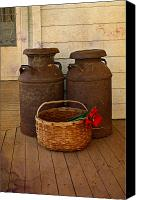 Country Photographs Canvas Prints - Antique Milk Cans On Porch Canvas Print by Carmen Del Valle