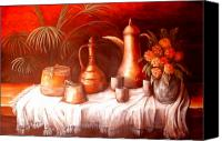 Moroccan Painting Canvas Prints - Antique Moroccan Pots Still Life Canvas Print by Patricia Rachidi