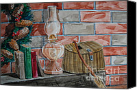 Oil Lamp Painting Canvas Prints - Antique Oil Lamp on Mantle Canvas Print by Bill Dinkins