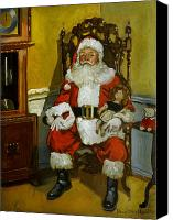 Dolls Canvas Prints - Antique Santa Canvas Print by Doug Strickland