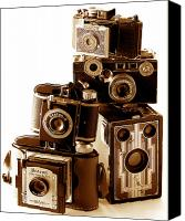 35mm Canvas Prints - Antique Snapshot Cameras Canvas Print by L S Keely