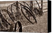 Hay Canvas Prints - Antique Wagon Wheels II Canvas Print by Tom Mc Nemar
