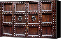Florence Canvas Prints - Antique Wood Door In Florence Canvas Print by Giuseppe Ceschi
