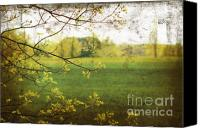 Scenic Digital Art Canvas Prints - Antiqued grunge landscape Canvas Print by Sandra Cunningham