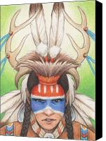Native Drawings Canvas Prints - Antlered Warrior Canvas Print by Amy S Turner
