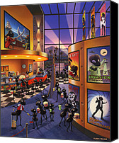 Movie Posters Canvas Prints - Ants at the Movie Theatre Canvas Print by Robin Moline