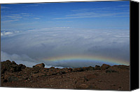 Hawaiian Islands Canvas Prints - Anuenue - Rainbow at the Ahinahina Ahu Haleakala Sunrise Maui Hawaii Canvas Print by Sharon Mau