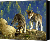 Wolf Painting Canvas Prints - Anybody Home Canvas Print by Crista Forest