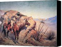 1861 Canvas Prints - Apache Ambush Canvas Print by Frederic Remington
