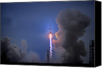 Edwin Canvas Prints - Apollo 11 Blasts Off On Mans First Canvas Print by O. Louis Mazzatenta