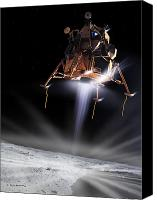 Edwin Canvas Prints - Apollo 11 Moon Landing Canvas Print by Detlev Van Ravenswaay and Photo Researchers