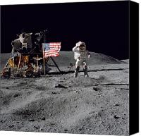 American Flags Canvas Prints - Apollo 16 Astronaut Leaps Canvas Print by Stocktrek Images