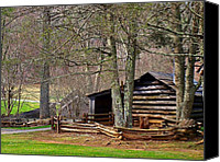 Log Cabins Canvas Prints - Appalachian Cabin Canvas Print by Jim Goldseth