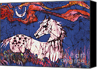 Wall Hanging Tapestries - Textiles Canvas Prints - Appaloosa in Flower Field Canvas Print by Carol Law Conklin